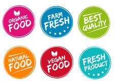Set of colorful labels and badges for organic, natural, bio and eco friendly products. royalty free illustration