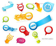 Set of colorful labels, badges, speech bubbles, pointing arrows Royalty Free Stock Photography