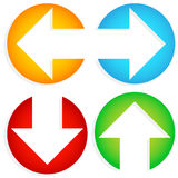 Set of Colorful Left-Right, Up-Down Arrows cut in circles Stock Images