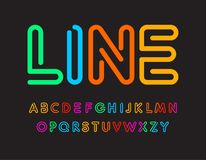 Set of colorful letters. Font from color line. Art alphabet. Simple maze typeset. Vector type on black background. Set of colorful letters. Font from color line vector illustration