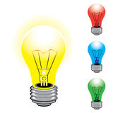 Set of colorful light bulbs Royalty Free Stock Photos