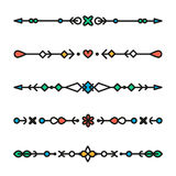 Set of colorful line geometric dividers vector isolated royalty free illustration
