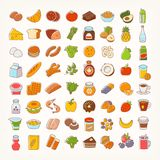 Set of colorful line stroke icons of food. Groups and goods. Big variety of dairy products, bakery, meat and seafood, fruit and vegetables, desserts and drinks stock illustration