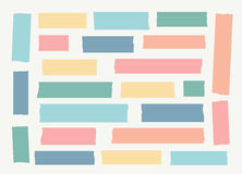Set of colorful lined different size masking tape, banners are stuck on white background Royalty Free Stock Photography