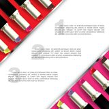 Set of colorful lipstick ads template Stock Photos