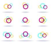 Set of colorful logos. Set of nine colorful symbols Stock Photos