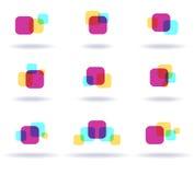 Set of colorful logos. Set of nine colorful symbols Royalty Free Stock Images