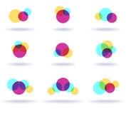 Set of colorful logos. Set of nine colorful symbols, vector illustration Stock Photography