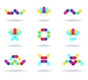 Set of colorful logos. Set of nine colorful symbols Royalty Free Stock Photos