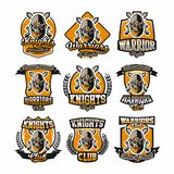 Set of colorful logos, emblems, face bearded warrior on the background of two cross swords. The theme knights vector illustration