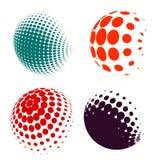 Set of colorful logos halftone Circles Logo, vector illustration. Set of Abstract Halftone Circles Logo, vector illustration globes in colorful dots Stock Photos