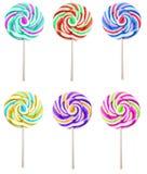 Set of colorful lolipops isolated on white background Royalty Free Stock Image