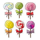 Set of colorful lollipops in hand drawn style Royalty Free Stock Photo