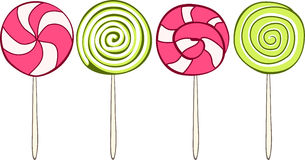 Set of colorful lollipops hand drawn style. Vector Royalty Free Stock Photos
