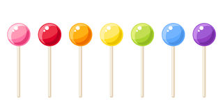 Set of colorful lollipops. Vector illustration. Stock Photos