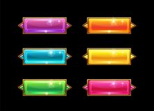 Set colorful long crystal horizontal buttons with golden border. Beautiful Vector assets for web or game design. Decorative GUI elements, isolated on Vector Illustration