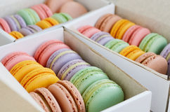 Set of colorful macaroon in the boxes Royalty Free Stock Photo
