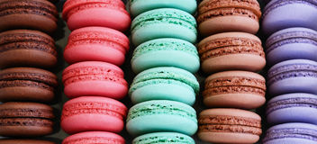 Set of colorful macaroon cups without filling Royalty Free Stock Images