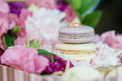Set of colorful macaroon with wedding or engagement rings on top Stock Photos