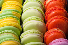 Set of colorful macaroons for tasty background. Selective Focus. Royalty Free Stock Images