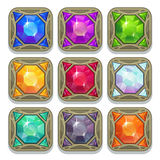 Set of colorful magic gemstones Stock Photo