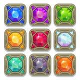 Set of colorful magic gemstones Stock Photo