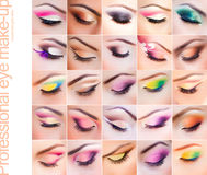 Set of colorful make-up on closed eyes Royalty Free Stock Photo