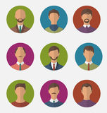 Set colorful male faces circle icons, trendy flat style Royalty Free Stock Photo