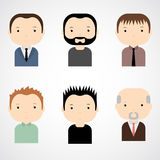 Set of colorful male faces icons. Trendy flat style. Funny cartoon characters. Royalty Free Stock Images