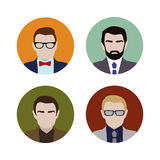 Set colorful male faces Stock Images