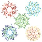 Set of colorful mandalas of curls. Royalty Free Stock Photos