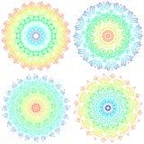 Set of colorful mandalas. Round mandala ornaments. Anti-stress therapy mandalas. Weave pattern mandalas. Yoga mandala logo. Mandala meditation poster. Unusual stock illustration