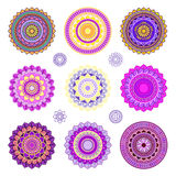 Set of colorful mandalas. Round mandala ornaments. Anti-stress therapy mandalas. Yoga mandala logo, mandala meditation poster. Unusual colored mandalas Royalty Free Stock Image