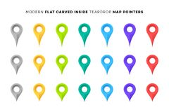 Set of Colorful Map Markers. Collection of Modern Flat Carved Inside Pointers. Vector Design Elements.  Royalty Free Stock Image