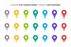 Set of Colorful Map Markers. Collection of Modern Flat Carved Inside Pointers. Vector Design Elements.  Stock Photo