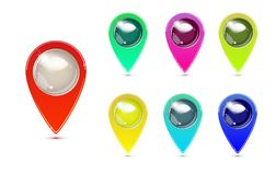 Set of Colorful Map Markers. GPS location symbol. pointer minimal vector symbol, marker sign. Vector illustration Royalty Free Stock Image