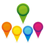 Set of colorful map markers Stock Photos