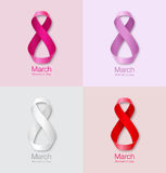 Set of colorful March 8 - Womens Day Paper Design of greeting card templates. Royalty Free Stock Photos