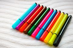 Set of colorful markers on the white background stock photo