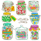 Set of colorful mason jars with greeting wishes Stock Image