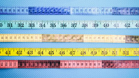 Set of colorful measure tapes Royalty Free Stock Image