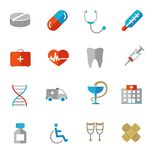 Set of colorful medical icons in flat colors Stock Photo