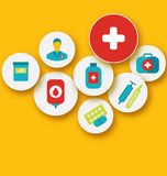 Set colorful medical icons for your design Stock Image