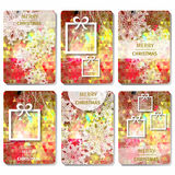 Set of 6 Colorful Merry Christmas and Happy New Year polygonal background with snowflakes, Royalty Free Stock Images