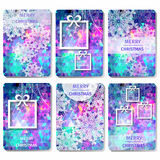 Set of 6 Colorful Merry Christmas and Happy New Year polygonal background with snowflakes, Stock Photos