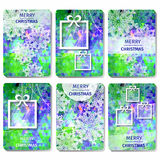 Set of 6 Colorful Merry Christmas and Happy New Year polygonal background with snowflakes, Stock Image