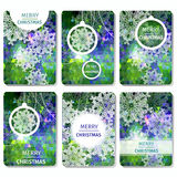 Set of 6 Colorful Merry Christmas and Happy New Year polygonal background with snowflakes,. Paper round ball,garland - tree decorations. Xmas ornaments Royalty Free Stock Image