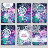 Set of 6 Colorful Merry Christmas and Happy New Year polygonal background with snowflakes,. Paper round ball,garland - tree decorations. Xmas ornaments Stock Photo