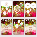 Set of 6 Colorful Merry Christmas and Happy New Year polygonal background with snowflakes,. Paper round ball,garland - tree decorations. Xmas ornaments Stock Images