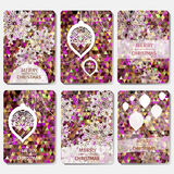 Set of 6 Colorful Merry Christmas and Happy New Year polygonal background with snowflakes, Royalty Free Stock Photos